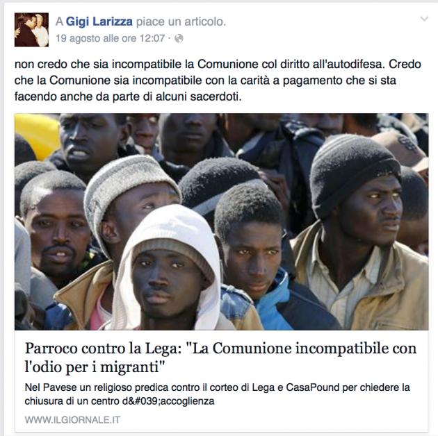 Taranto, prete fan di Mussolini e contro l'accoglienza dei m