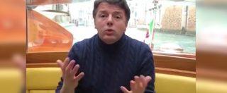 """Renzi in motoscafo a Venezia sfotte Salvini e Di Maio: """"Hanno esultato come con un gol in rovesciata al novantesimo ma…"""""""