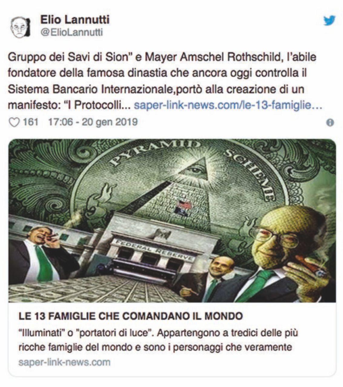 """""""Di Maio cacci il senatore che cita i protocolli di Sion"""""""