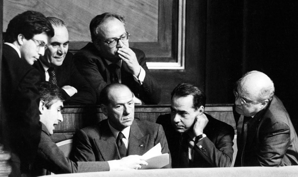 Tatarella, Casini, Silvio Berlusconi and Urbani.