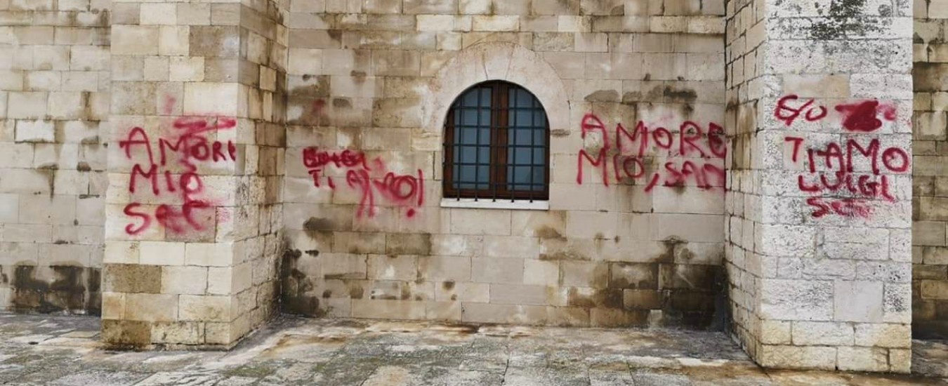 """Trani, Cattedrale imbrattata con delle scritte per San Valentino. Il sindaco: """"Luigi hai una fidanzata idiota"""""""