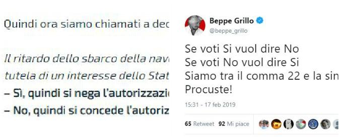 """Diciotti, Grillo ironizza sul quesito del blog M5s: """"Se voti Sì vuol dire no. Siamo tra comma 22 e la sindrome di Procuste"""""""