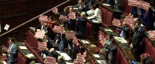 """Tav, bagarre in aula dopo il voto sulla mozione. Pd espone cartelli: """"Salva Salvini – Boccia la Tav"""""""
