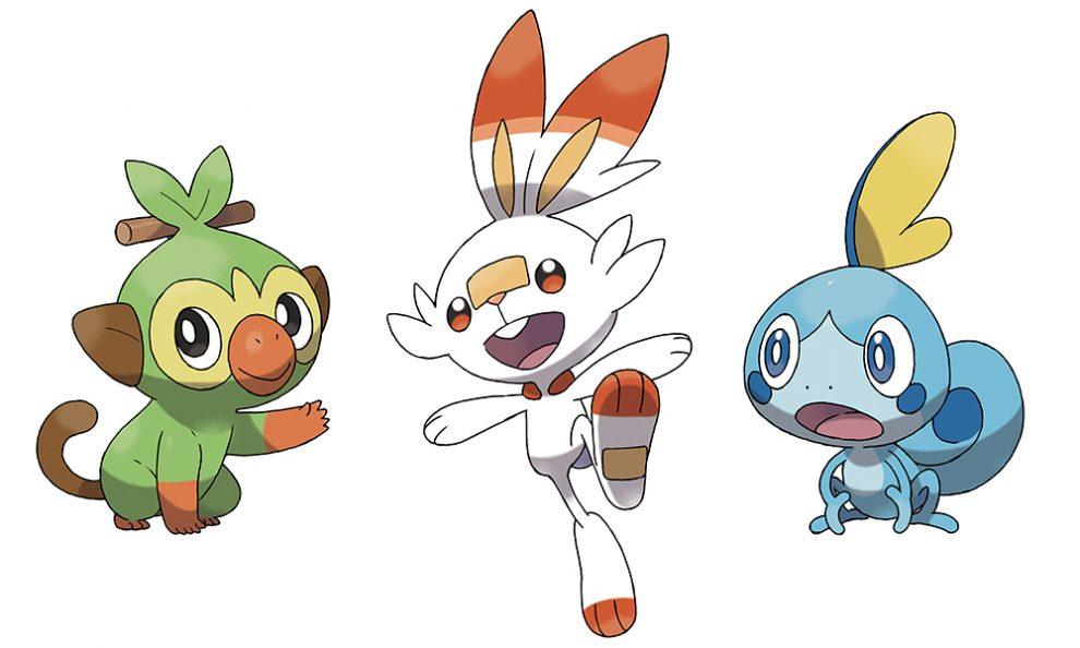 I tre nuovi Pokémon iniziali: Grookey, Scorbunny e Sobble