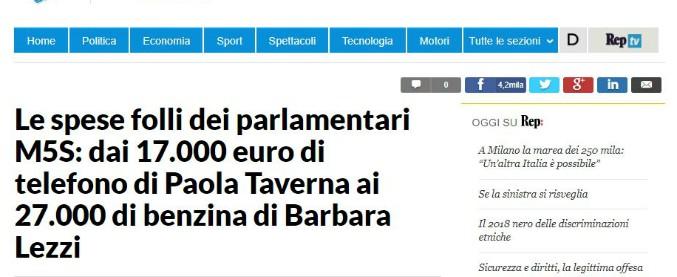 """M5s, Repubblica sbaglia i dati: """"Spese folli, per la Taverna 17mila euro l'anno di telefono"""". Ma le cifre sono su 57 mesi"""