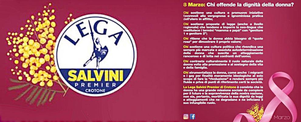 """8 marzo, Lega di Crotone fa volantino che denigra le donne. Ministre M5s: """"Scioccante"""". Salvini: """"Non lo condivido"""""""