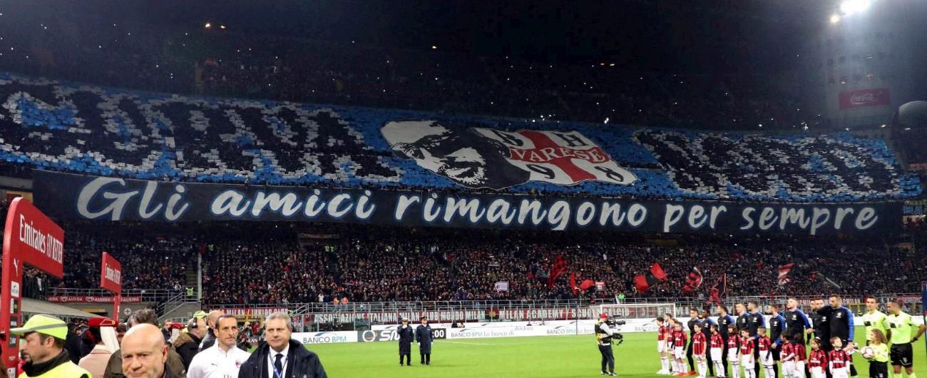 """Milan-Inter, la coreografia nerazzurra ha il logo degli ultrà di estrema destra. Con l'ok di  Salvini, dopo il """"no"""" della polizia"""