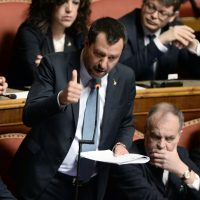 Foto Fabio Cimaglia / LaPresse 20-03-2019 Roma Politica Senato. Proposta della Giunta per le immunità parlamentari di non concedere l'autorizzazione a procedere nei confronti di Matteo Salvini Nella foto Matteo Salvini   Photo Fabio Cimaglia / LaPresse 20-03-2019 Roma (Italy) Politic Senate. Proposal of the Parliamentary Committee for Immunity not to grant authorization to proceed against Matteo Salvini In the pic Matteo Salvini