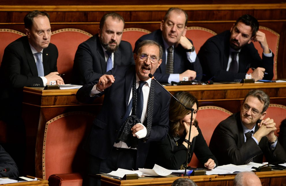 Foto Fabio Cimaglia / LaPresse 20-03-2019 Roma Politica Senato. Proposta della Giunta per le immunità parlamentari di non concedere l'autorizzazione a procedere nei confronti di Matteo Salvini Nella foto Ignazio La Russa   Photo Fabio Cimaglia / LaPresse 20-03-2019 Roma (Italy) Politic Senate. Proposal of the Parliamentary Committee for Immunity not to grant authorization to proceed against Matteo Salvini In the pic Ignazio La Russa