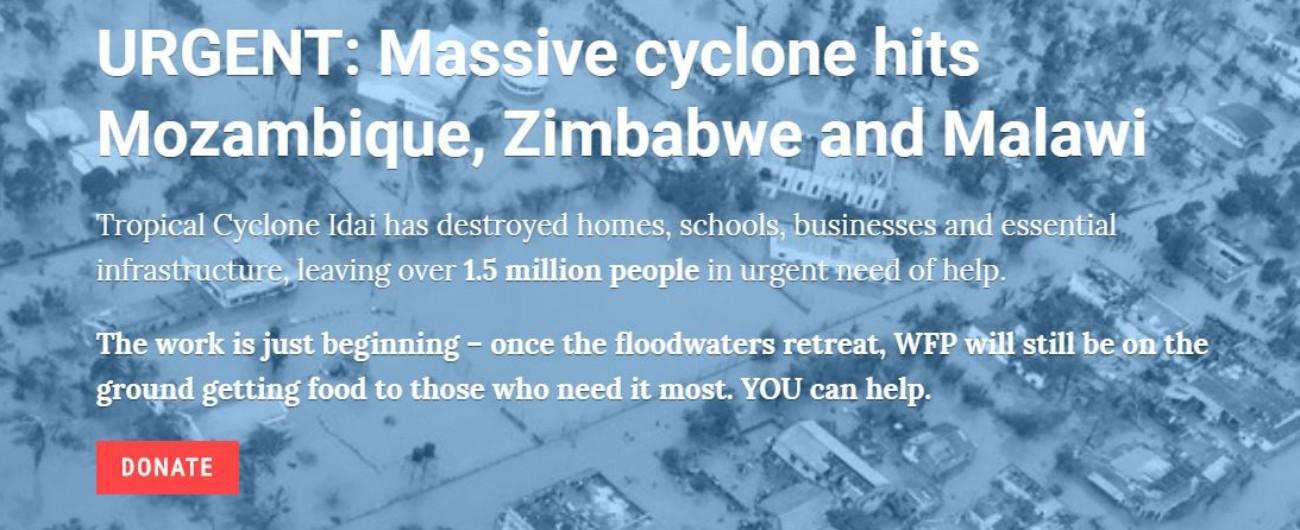 """Africa meridionale, Onu: """"1,7 milioni di persone colpite dal ciclone Idai. In Mozambico rischio di epidemie"""""""