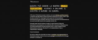 Wikipedia si oscura per protesta. L'enciclopedia online si schiera contro la direttiva UE sul copyright