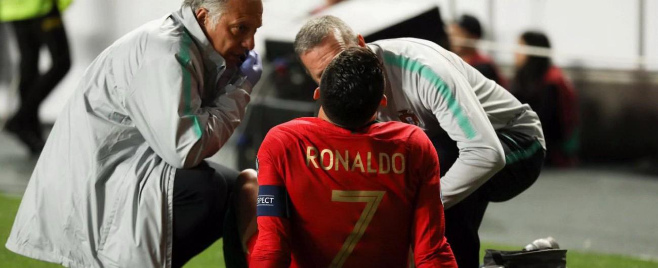 Cristiano Ronaldo, infortunio con il Portogallo: apprensione in vista dell'Ajax. E il titolo della Juventus va giù in Borsa