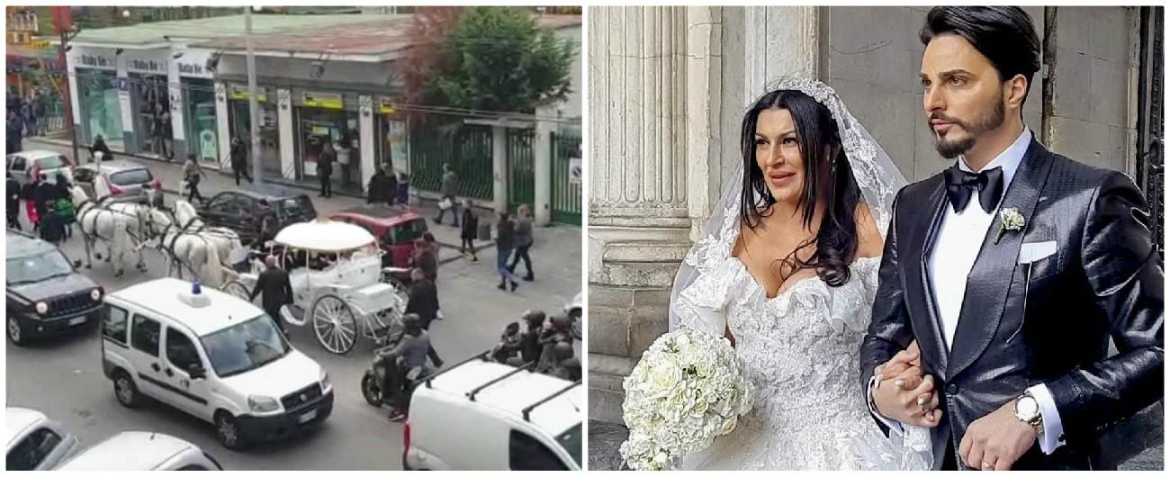 Napoli, nozze tra il neomelodico Tony Colombo e la vedova del boss: gli agenti multano la carrozza con i cavalli