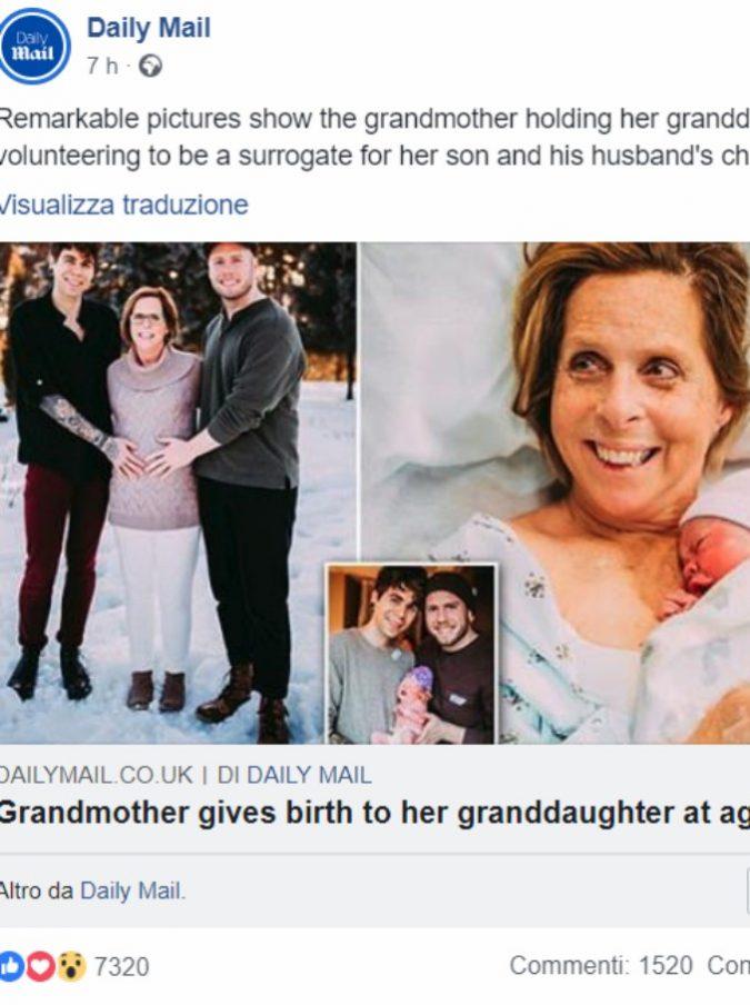 """Nonna dà alla luce la sua nipotina come madre surrogata: """"Volevo vedere mio figlio e il suo compagno con in braccio la loro bambina"""""""
