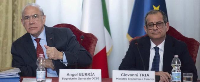 """Crescita, rapporto Ocse su Italia: """"Pil in calo di 0,2% e deficit su al 2,5%. Abrogare quota 100, aumenta il debito"""""""