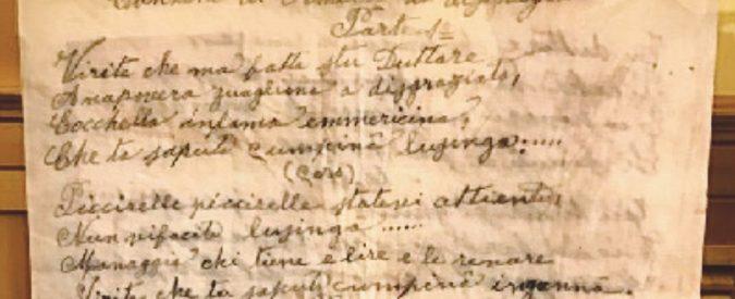 """La canzone di Amelia """"la disgraziata"""" Il primo pizzino fu scritto nel 1901"""
