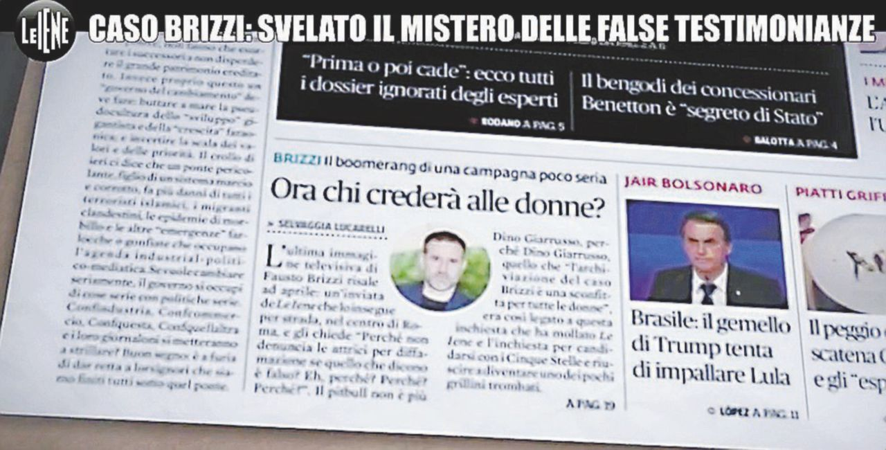 Il caso Brizzi, la finta teste e le Iene che danno lezioni di giornalismo