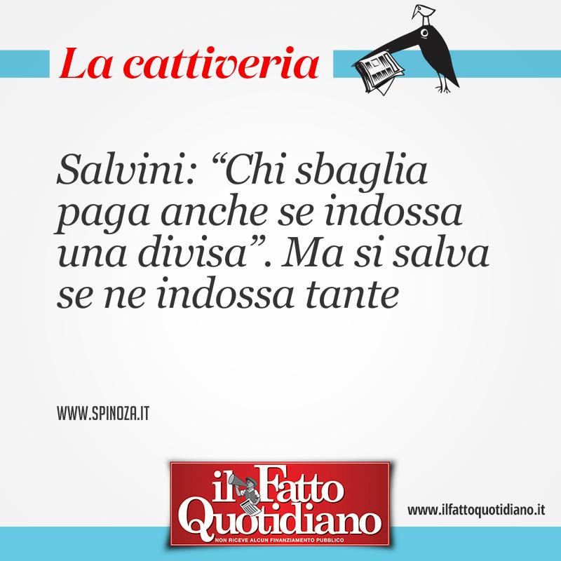 """Salvini: """"Chi sbaglia paga anche se indossa una divisa"""". Ma si salva se ne indossa tante"""