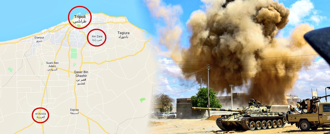"""Libia, forze di Haftar a el Azizia: esercito avanza sul fronte mobile a sud di Tripoli. """"Oltre 13500 sfollati, civili intrappolati"""""""