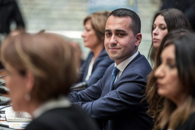 Foto Roberto Monaldo / LaPresse<br /> 13-04-2019 Roma<br /> Politica<br /> Luigi Di Maio presenta le donne capolista per le prossime elezioni europee<br /> Nella foto Maria Angela Danzi, Sabrina Pignedoli, Luigi Di Maio, Alessandra Todde, Chiara Maria Gemma, Daniela Rondinelli<br /> Photo Roberto Monaldo / LaPresse<br /> 13-04-2019 Rome (Italy)<br /> Luigi Di Maio presents the women candidates for the next European elections<br /> In the pic Maria Angela Danzi, Sabrina Pignedoli, Luigi Di Maio, Alessandra Todde, Chiara Maria Gemma, Daniela Rondinelli