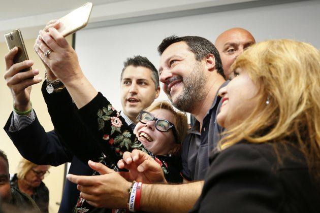 Foto Vincenzo Livieri - LaPresse<br /> 14-04-2019 - Roma<br /> Politica<br /> Matteo Salvini partecipa alla Conferenza programmatica della Lega Lazio. Nella foto Matteo Salvini<br /> Photo Vincenzo Livieri - LaPresse<br /> 14-04-2019 Rome (Italy)<br /> Politics<br /> Matteo Salvini attends the Lega Lazio conference. In the picture Matteo Salvini