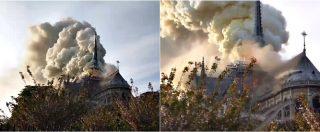 Parigi, incendio a Notre-Dame: le fiamme divorano i tetto e la guglia della cattedrale
