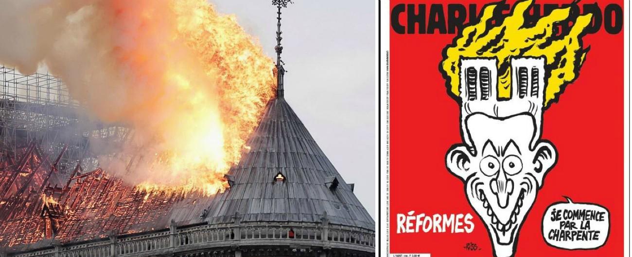 Notre-Dame, la satira di Charlie Hebdo sull'incendio della cattedrale di Parigi e le riforme di Emmanuel Macron