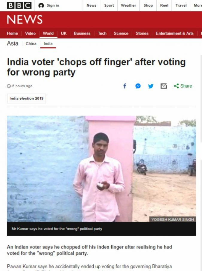 Sbaglia a votare e preso da un attacco d'ira si amputa un dito