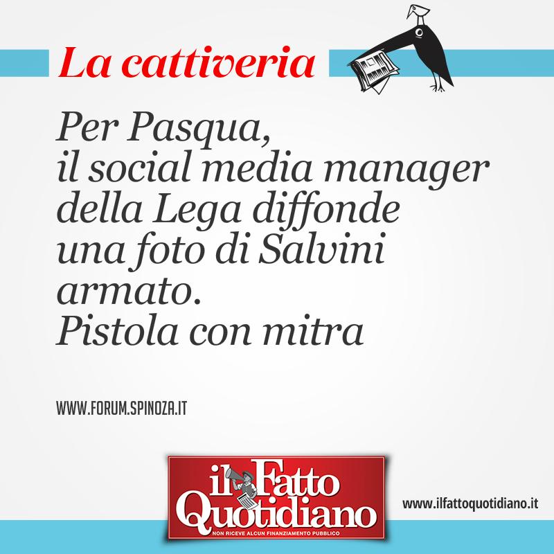 Per Pasqua, il social media manager della Lega diffonde una foto di Salvini armato. Pistola con mitra