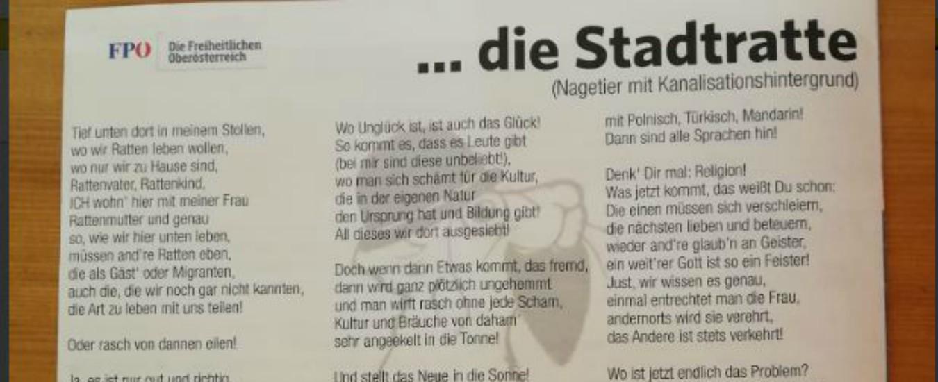 """Austria, il vicesindaco della città di Hitler pubblica una poesia sui topi ma allude ai migranti. Kurz: """"Razzista"""""""
