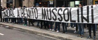 Milano, striscione in onore di Benito Mussolini: 8 daspo a ultras della Lazio