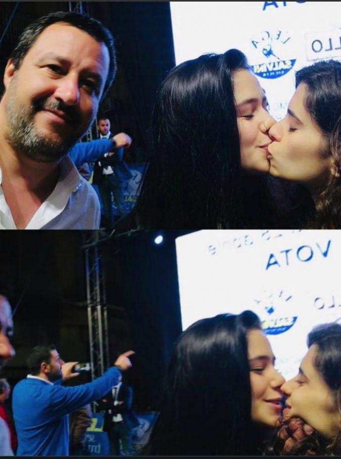 """Caltanissetta, Gaia e Matilde che si sono baciate durante il selfie con Matteo Salvini: """"Ecco perché l'abbiamo fatto"""""""
