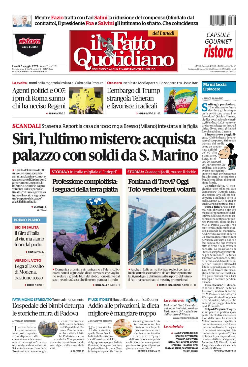 Prima Pagina Il Fatto Quotidiano - Siri, l'ultimo mistero: acquista palazzo con soldi da S. Marino