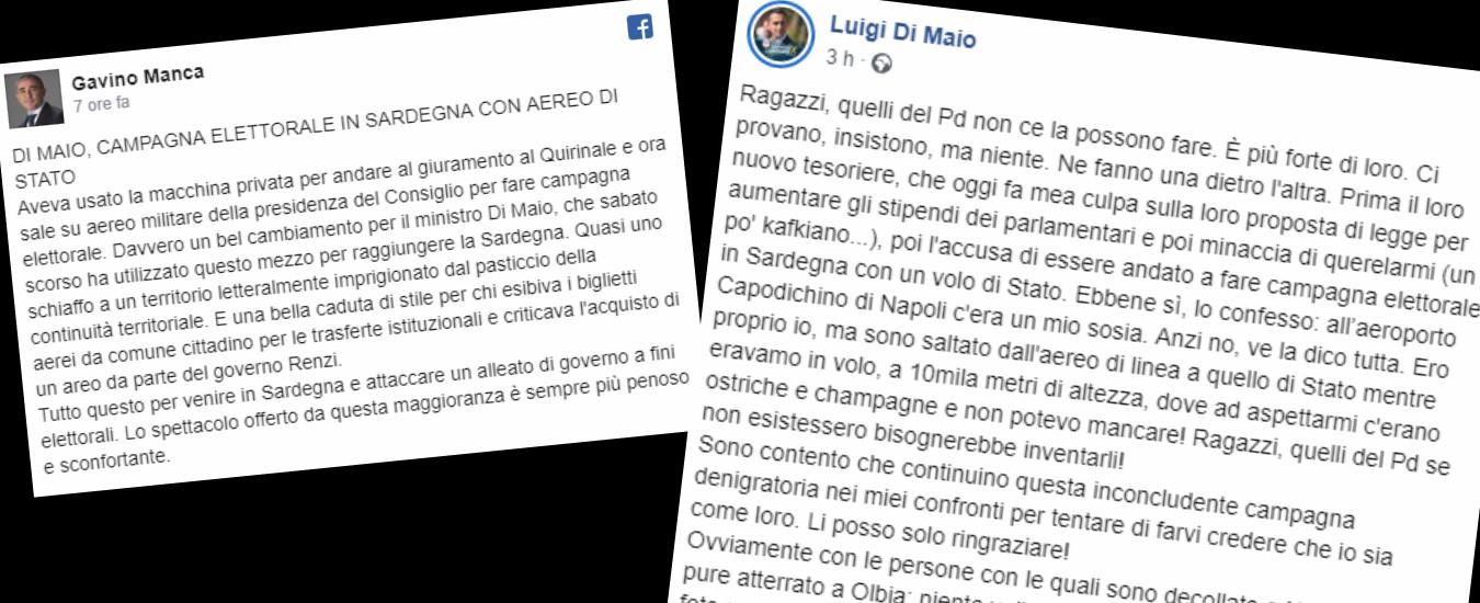 """Di Maio, Manca (Pd): """"Ha usato aereo militare per campagna elettorale"""". La replica: """"Né voli di Stato né champagne"""""""