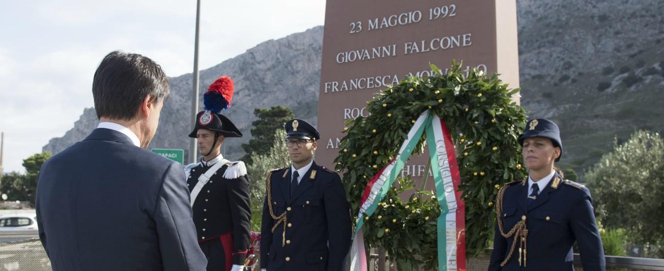 """Falcone, Conte: """"La lotta alla mafia è una battaglia di libertà. Contro politica deviata che si piega a torbidi accordi"""""""