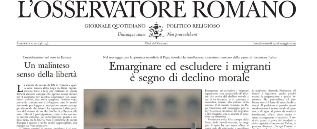 """Elezioni europee 2019, il direttore dell'Osservatore Romano: """"La paura rende pazzi e spezza i legami"""""""