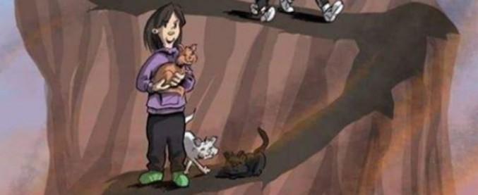 """Radio Maria, polemiche sui social per la vignetta sulle """"donne moderne"""": senza figli e con gatti"""