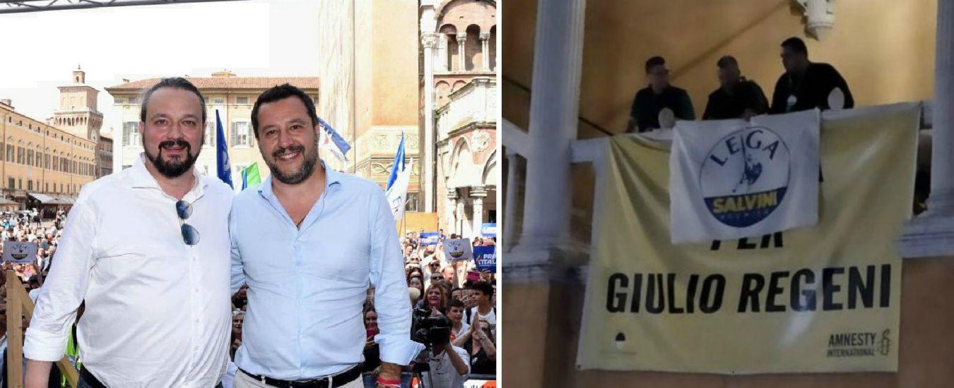 """Ferrara, bandiera della Lega sopra lo striscione """"Verità per Giulio Regeni"""" dopo la vittoria di Alan Fabbri"""