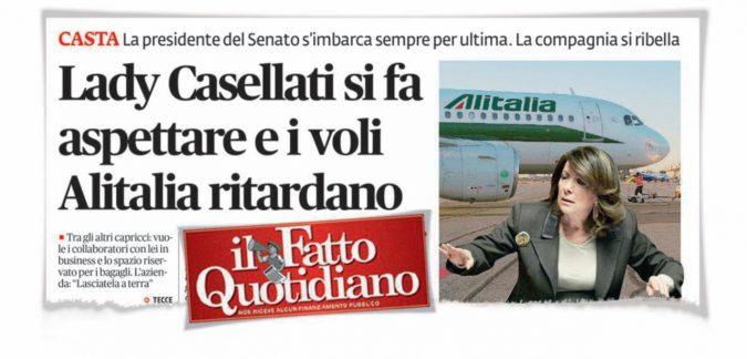"""Alitalia, la """"smentita"""" di Casellati conferma tutto"""