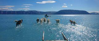 Groenlandia, aumento della temperatura fa sciogliere il ghiaccio. La foto simbolo
