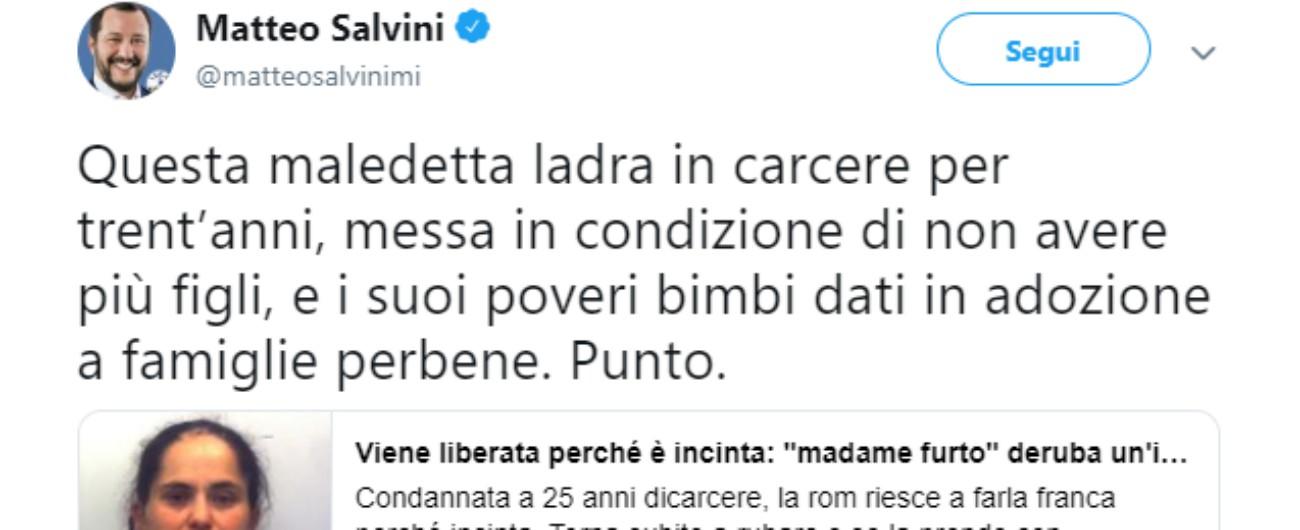 """Salvini sulla ladra bosniaca: """"Maledetta donna, sia messa in carcere, in condizione di non aver più figli"""""""