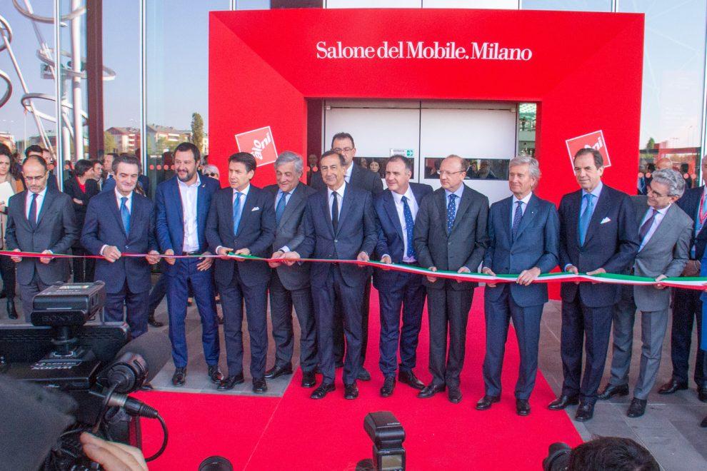 Inaugurazione Salone del Mobile. Nella foto Giuseppe Conte, Attilio Fontana, Matteo Salvini, Giuseppe Sala durante il taglio del nastro.