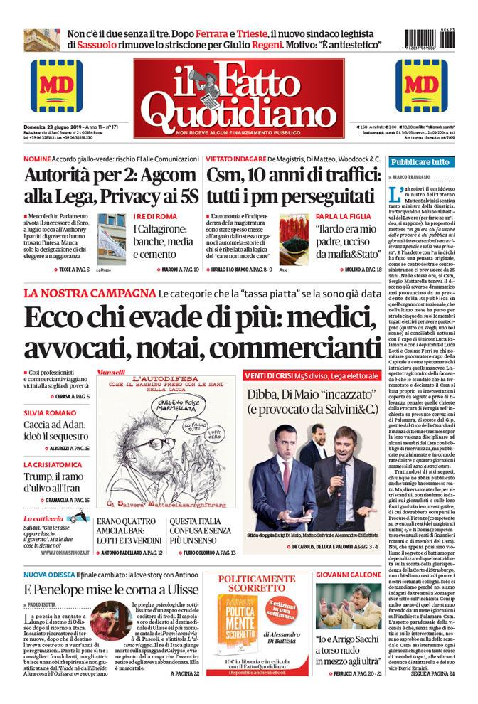 Prima Pagina Il Fatto Quotidiano - Ecco chi evade di più: medici, avvocati, notai, commercianti