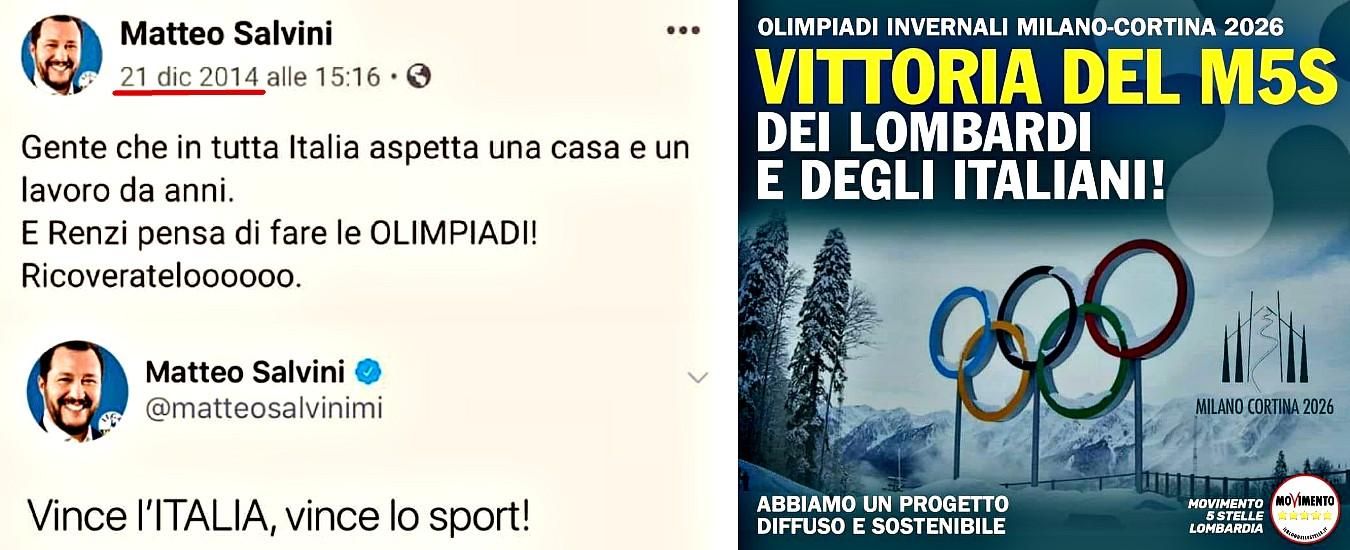 """Olimpiadi, M5s ricorda quando Salvini era contrario e diceva: """"Sono follia"""". I 5stelle lombardi rimuovono post su """"vittoria"""""""