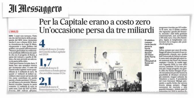 """Altro che """"costo zero"""": i veri dati su Roma 2024"""
