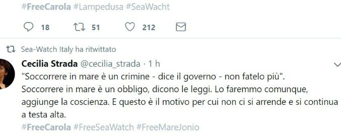 """#FreeCarola, la campagna di solidarietà alla capitana della Sea Watch. Da Lerner a Cecilia Strada: """"Rispettate leggi del mare"""""""