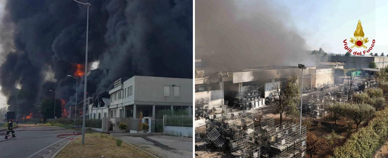"""Vicenza, incendio in fabbrica di vernici: """"Concentrazioni altissime di benzene"""". Attesi valori diossine e altri inquinanti"""