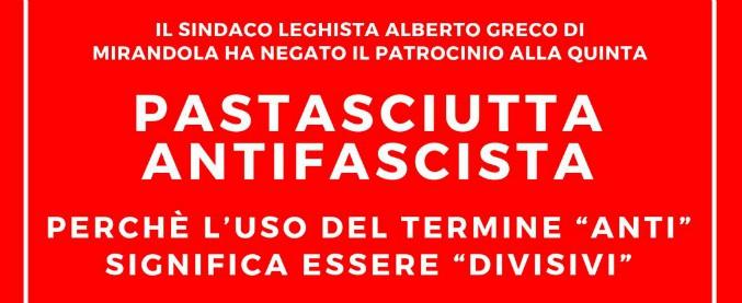 """Modena, il sindaco di Mirandola toglie il patrocinio alla pastasciutta antifascista dell'Anpi: """"Il termine 'anti' è divisivo"""""""