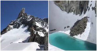 """Monte Bianco, sul ghiacciaio si forma un lago. L'allarme dell'alpinista: """"Colpa del caldo"""""""