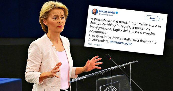 """von der leyen, la lega parlava di appoggio e salvini diceva: """"non contano nomi, italia sarà protagonista""""."""